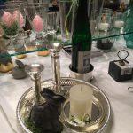 Flaschenhalter, Kerzenständer, Tablett versilbert