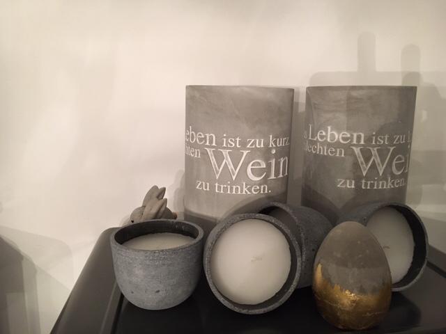 Kerzen, Kühler – Beton